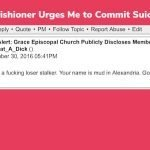 Grace Parishioner Urges Me to Commit Suicide