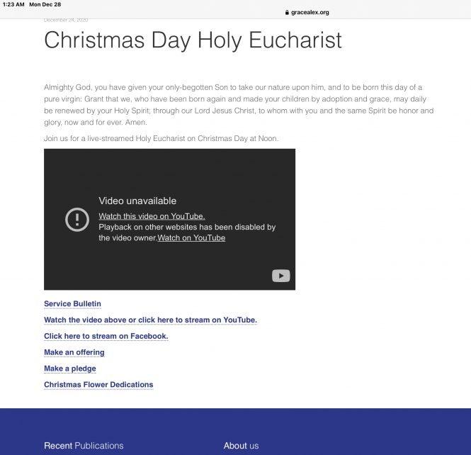 Grace Episcopal Alexandria Bollixes Christmas Video
