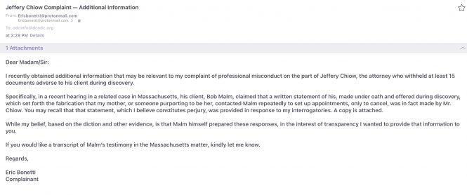 Jeffery Chiow Disciplinary Complaint